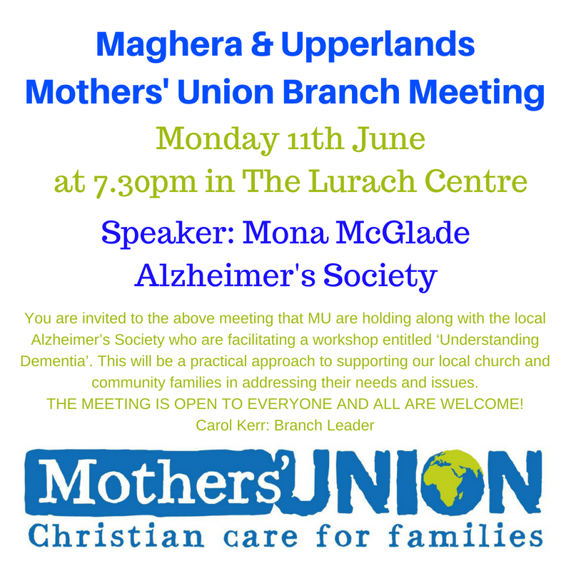 Mothers' Union Branch Meeting with local Alzheimer's Society